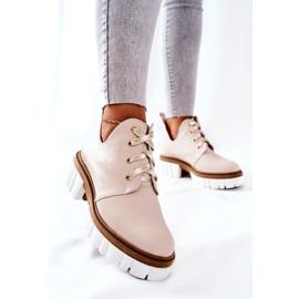 PA2 Læderstøvler med udskåret beige Kaxo 4