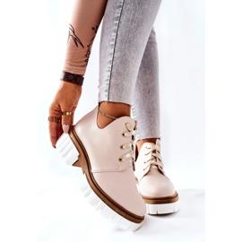 PA2 Læderstøvler med udskåret beige Kaxo 2