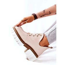PA2 Læderstøvler med udskåret beige Kaxo 9