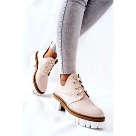 PA2 Læderstøvler med udskåret beige Kaxo 6
