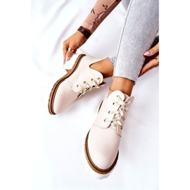 PA2 Læderstøvler med udskåret beige Kaxo 10