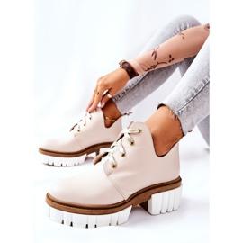 PA2 Læderstøvler med udskåret beige Kaxo 1